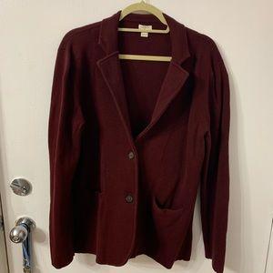 J. Crew Factory Maroon Sweater Blazer - L